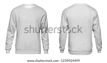 Blank template mens grey sweatshirt long sleeve, front and back view, isolated on white background with clipping path. Design gray pullover mockup for print.