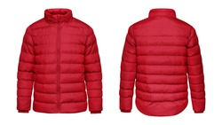 Blank template red down jacket with zipped, front and back view isolated on white background. Mockup winter sport jacket