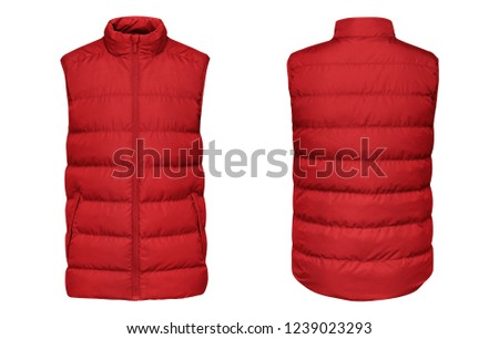 Blank template red waistcoat down jacket sleeveless with zipped, front and back view isolated on white background. Mockup winter sport vest