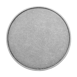 Blank templates for coins or medals with metal texture. Silver, isolated on white background
