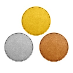 Blank templates medals, coins. Gold, silver, bronze, isolated on white background