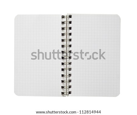 Blank textured page of a notebook, free copy space ,isolated on white background