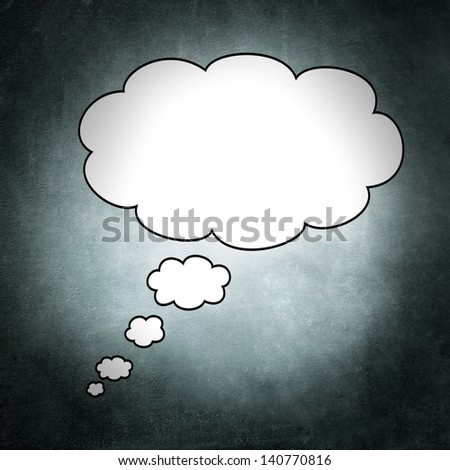 Blank thought bubble on a irregular and gray background