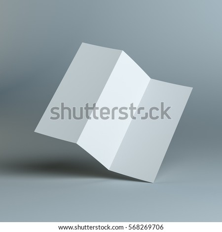 blank three fold template paper 3d illustration ez canvas