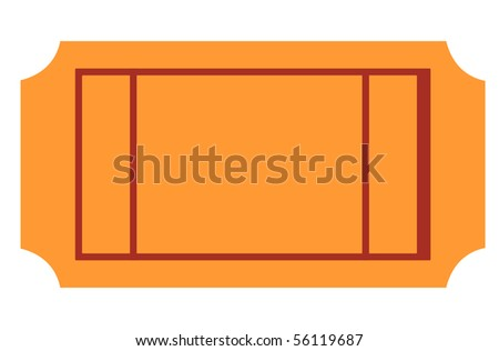 Blank ticket with copy space, isolated on white background.