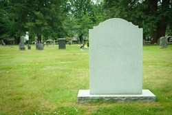 Blank tombstone in old cemetery