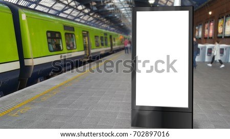 Blank totem sign on a railway platform #702897016