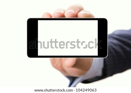 Blank touch screen of phone in a hand, isolated on white