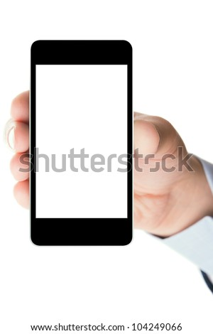 Blank touch screen of smart phone in a hand, isolated on white background