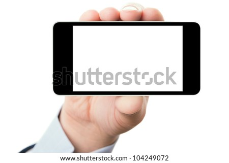 Blank touch screen of smart phone in a hand, isolated on white background in horizontal position