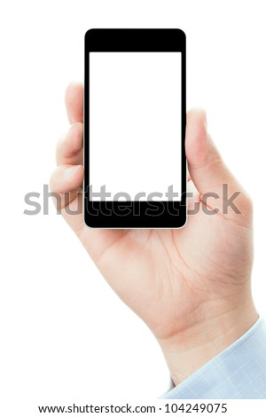 Blank touch screen of smart phone in a hand, isolated on white background in vertical position