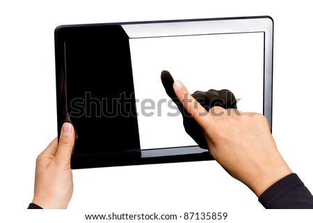 Blank touchpad in hands isolated on white