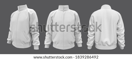 Blank tracksuit top, jacket design, sportswear, track front, side and back views, 3d illustration, 3d rendering Stock photo ©
