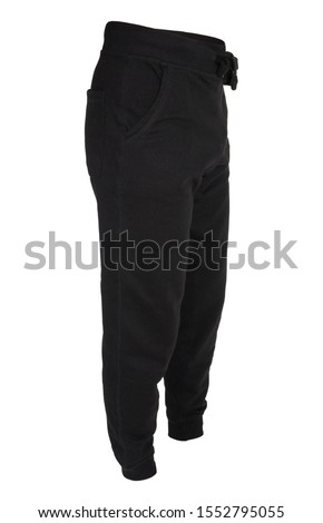 Blank training jogger pants color black isolated view on white background  Stock photo ©