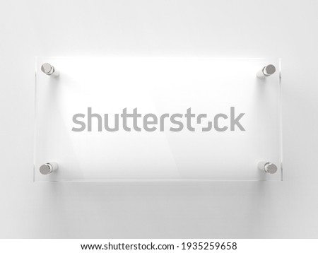 Blank Transparent Glass Interior Office Corporate Signage Plate Mock Up Template, Clear Printing Board For Branding, Logo. Transparent acrilic advertising signboard mock-up front view. 3D rendering Stockfoto ©