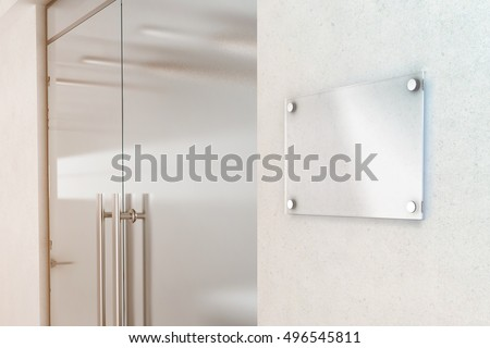 Blank transparent glass sign plate design mockup, 3d rendering. Nameplate mock up on the wall near office entrance interior. Signage panel door number template. Clear printing board for logo branding.