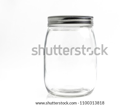Blank Transparent of fat shape glass bottle with aluminum lid. Isolated on white background