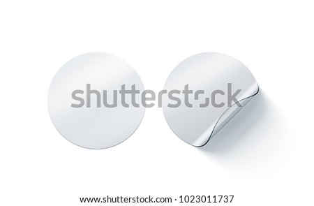 Blank transparent round adhesive stickers mock up with curved corner, 3d rendering. Empty circle sticky label mockup with curl. Clear adherent tag template for glass door or wall.