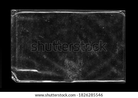 Blank transparent wrinkle plastic packaging overlay with grungy texture stock photo