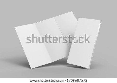 Blank tri fold brochure template for mock up and presentation design. 3d render illustration.