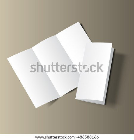 Blank tri fold cover flyer on gold background. 3D illustration with soft shadows. Raster copy of vector file.