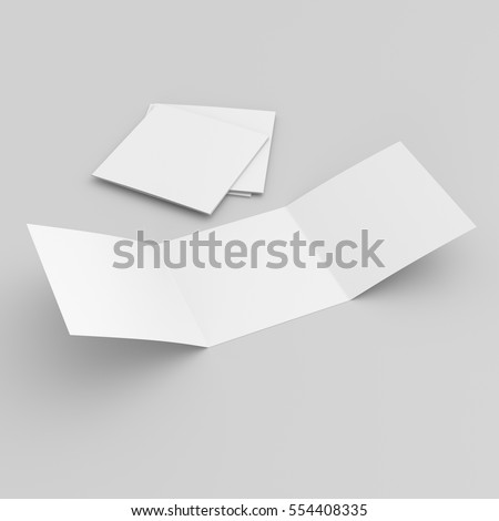 blank tri-leaf square leaflets isolated isolated on grey background. 3D rendering