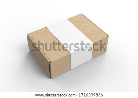 Blank Tuck In Flap Packaging Paper Box For Branding With paper label sleeve, 3d render illustration. Foto stock ©