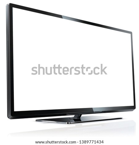 Blank TV template isolated black lcd television #1389771434