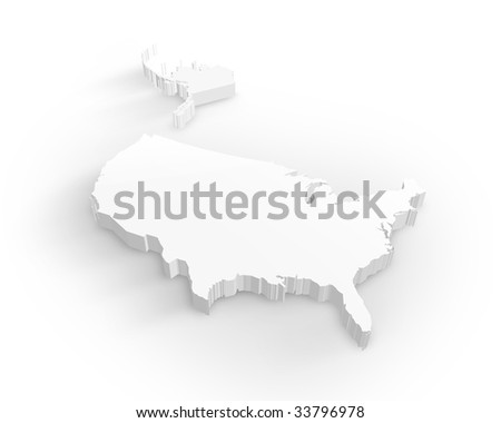 Blank Usa 3d map - stock photo