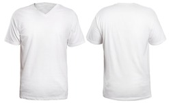 Blank v-neck shirt mock up template, front and back view, isolated on white, plain t-shirt mockup. V Neck tee design presentation for print.