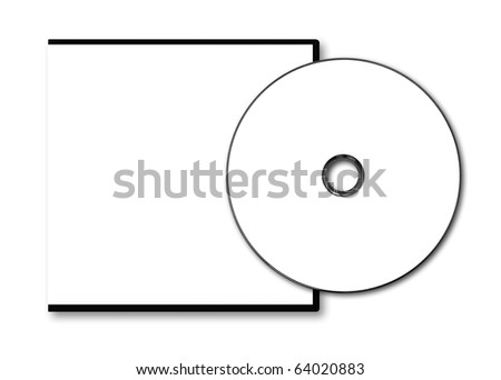 Blank VCD case and disc on white background