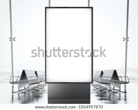 Blank vertical banner in the waiting hall of airport. 3d rendering