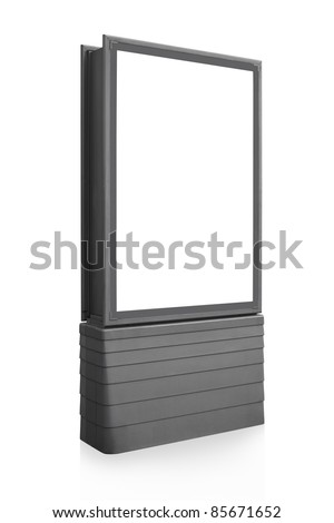 Blank vertical billboard sign isolated on white, screen and outline clipping path included