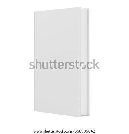 blank vertical book cover template with pages in front side standing