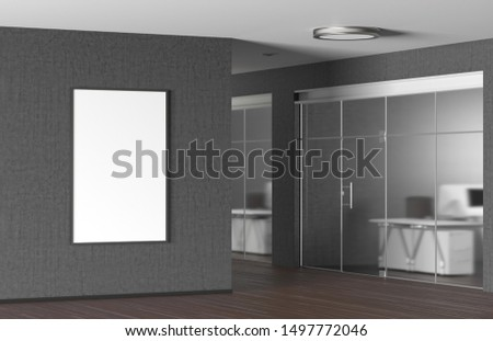 Blank vertical poster on the gray wall in modern office. 3d illustration #1497772046