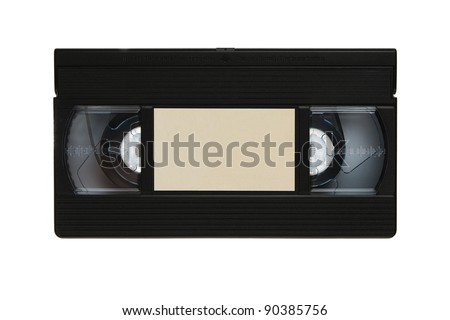 Blank vhs video cassette tape isolated on white background