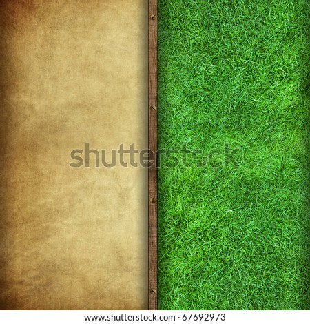 blank vintage background mix with green grass background