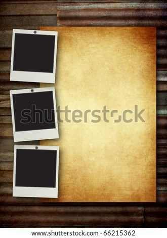 blank vintage paper and photo frame with space for your data on old zinc background