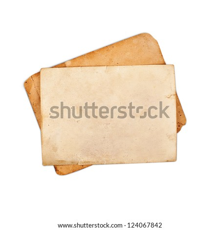 Blank vintage photo paper isolated on white background, with clipping path