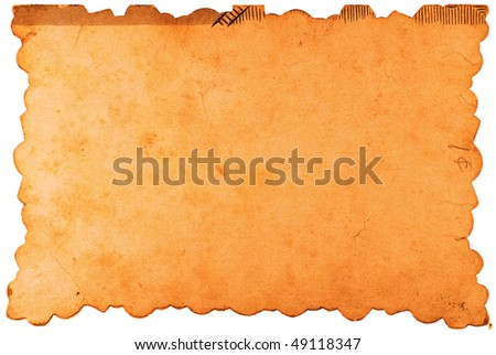 Blank vintage piece of paper with scalloped edges isolated on white