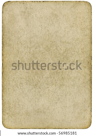 Blank vintage playing card isolated on a white background.