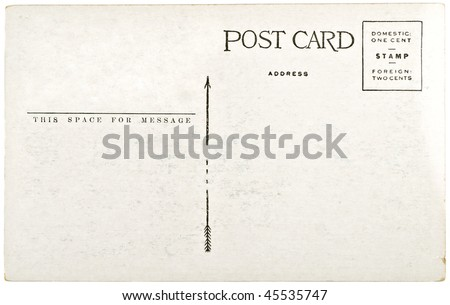 Blank vintage postcard from mid-1900s with copyspace