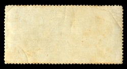 Blank vintage posted stamp isolated on black background