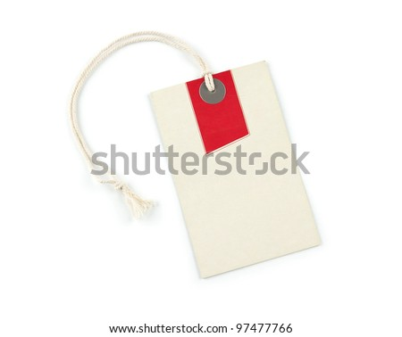 Blank vintage price tag isolated on white background