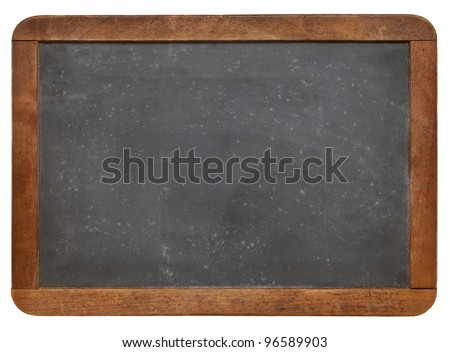 blank vintage slate blackboard with white chalk texture and wood frame isolated on white