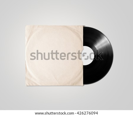 Blank vinyl album cover sleeve mockup, isolated, clipping path. Gramophone music plate clear surface mock up. Paper sound shellac disc label template. Vintage old grunge cardboard vinyl disk package #426276094