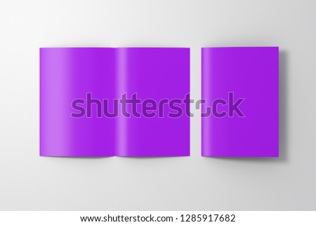 Blank violet open and folded half-folded flyer leaflet on white background. With clipping path around brochure. 3d illustration