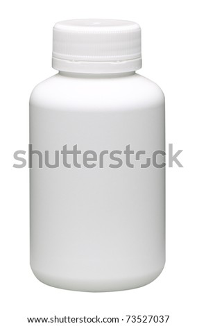 Blank vitamins bottle to wrap your sign or label on it, the image isolated on white