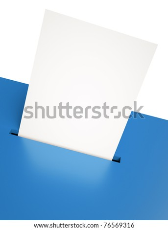 Blank voting paper in a blue ballot box slot. 3D render