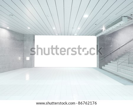 Blank wall and staircase - stock photo